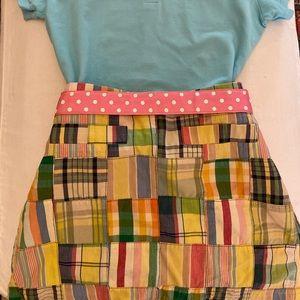 JCrew patch work madras mini skirt